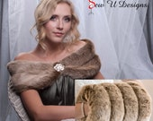 "6"" wide Specialty faux fur custom wrap shawl and Super Size hand muff set Winter wedding shrug with hand warmer"