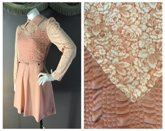 70s dress early 1970s vintage ROSES PINK MAUVE fit and flare puff sleeve dolly mini dress