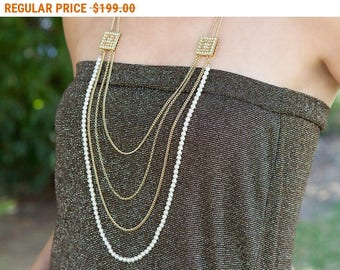20% OFF - CIJ SALE Multistrand necklace, pearl strand necklace, multi layer necklace, long layered necklace, layered and long, statement