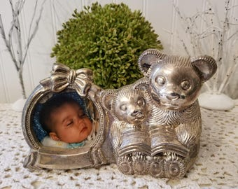 Vintage Silver-Plated Bear Bank with Photo Frame in Original Box. Teddy Bear Baby with Mommy or Daddy, reading a book. Gift for new parents.