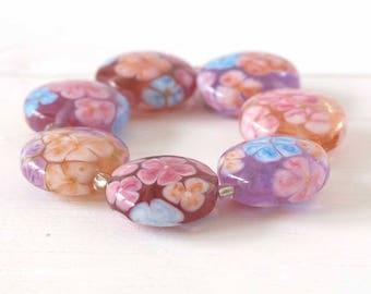 Handmade Lampwork Floral Bead Set, Summer Flowers Glass Beads