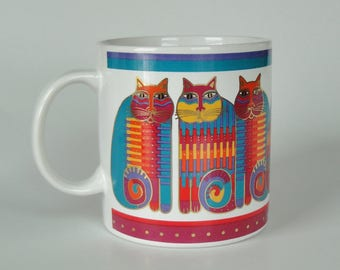 1 Vintage 1988 Laurel Burch Cat Mug - Rainbow Cat Cousins - Colorful Cats Kittens, Metallic Gold Trim Coffee Cup, Tea Cup, Animal Lover Gift