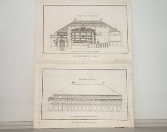 c. 1751 ARCHITECTURE PRINTS - original antique engravings - french building prints of a theater DIDEROT - set of 2