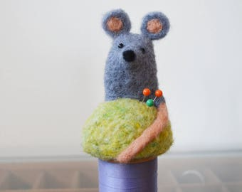 Tiny Mouse pin cushion on a vintage spool, needle felted sculpture