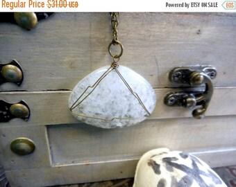 SALE The Snowstorm Quartz Pendant Necklace. Huge Wire Wrapped Snowflake Quartz Briolette Handmade Boho Necklace