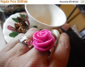 SALE PINK LADY. Shabby pink huge rose Victorian Cocktail or Tea Ring .