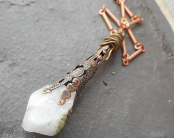 SALE Hecate. Rough Raw Moonstone & Copper Filigree wand Pendant Necklace. Magic Wand Incantation