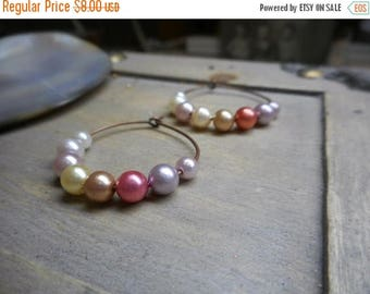 SALE Flutter. Faux Pearls & antiqued Copper Hoops. Romantic Warm colors in pinks and creams
