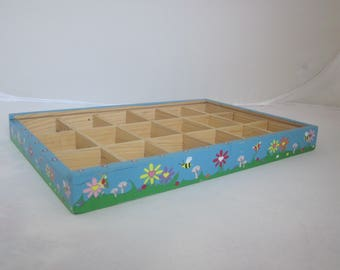 CHILDRENS JEWELRY TRAY Hand Painted Box Recycled/ Reclaimed