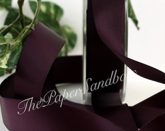 "Deep Eggplant/Aubergine Double Faced Satin Ribbon, 7/8"" wide by the yard, Dark Purple Ribbon, Weddings, Sewing, Bouquets, Gift Wrapping"