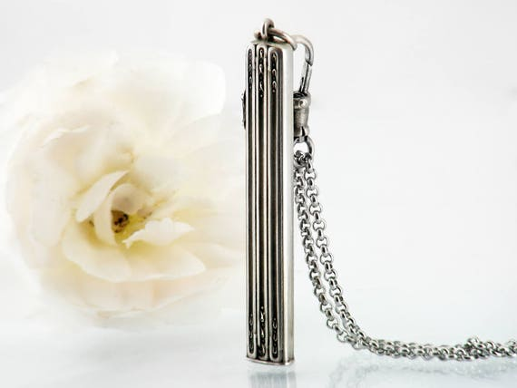 Antique Sterling Silver Pendant | Retractable Chatelaine Pencil | Belle Epoque | French Hallmarks | Sterling Fob Clip - 34 Inch Long Chain