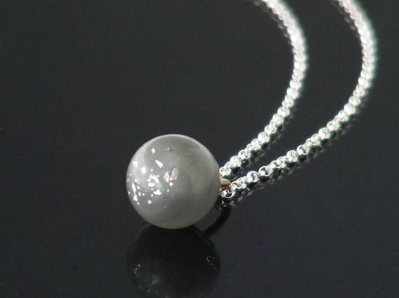 Delicate Victorian Drop Pendant | Unique Soft Grey, Silver Foil Glass Charm String Necklace, Antique Glass Charm String Ball - 20 Inch Chain