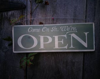 Open / Closed Sign Double Sided Sign Painted wood shabby distressed