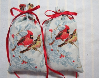 "Winter Blue 5""X2.5"" Sachets-'Christmas Fantasy' Fragrance-Unisex Glitter Cardinals Snow Hollyberries-Cotton Herbal Sachets-Cindy's Loft-171"