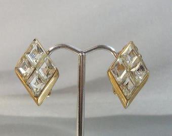 SALE Vintage Diamond Earrings. Gold Plated. Diamond Shaped Rhinestones.