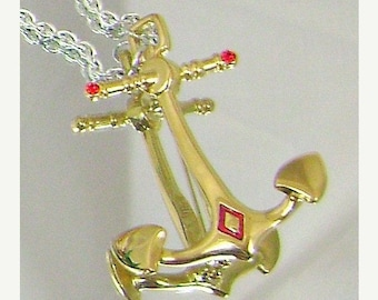 SALE Vintage Bob Mackie Brooch.  Anchor.  Gold, Silver,  Ruby Red