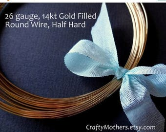 7% off SHOP SALE 26 gauge Gold Filled Wire - Round, Half HARD, 14K/20, precious metal jewelry wire - Select a Length