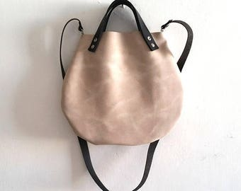 OnSALE Beige Nude Leather basket hand bag ,Cross-body Bag, Every day leather bag