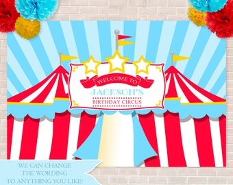 "Circus Backdrop- 48"" x 72"", Birthday Backdrop, Carnival Backdrop, Big Top Backdrop, School Carnival, Church Carnival, Circus Tents Backdrop"