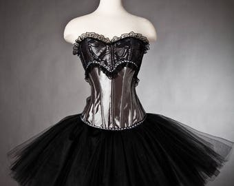 Custom Size Silver and Black tulle Burlesque Corset dress