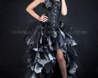 Custom Size Black and gray High Low tulle Burlesque Corset zombie detachable Dress short in the front long train in the back Small-XL
