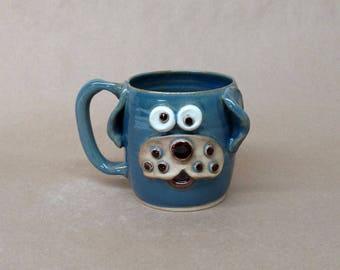 Hilarious Doggy Mug. Ug Chug Face Cups By Nelson Studio Cullman Alabama. Bright Blue Food Safe Stoneware Pottery Mugs. Hot Tea Server.