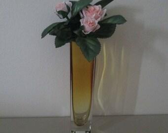 Vintage Bud Vase Amber Glass