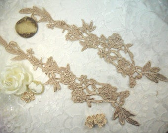 """Embroidered Lace Appliques Champagne Floral Venice Lace Mirror Pair 14"""" (DH82-chp)"""