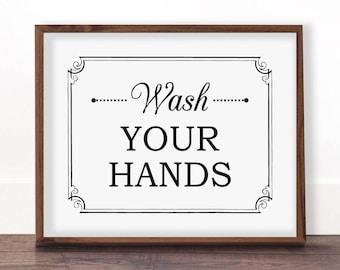 Bathroom Signs Wash Your Hands wash hands sign | etsy