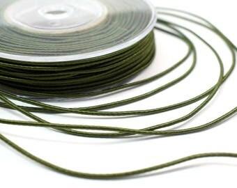 Wrapped silk cord, 1.5mm satin cord, khaki cord, 4 meters