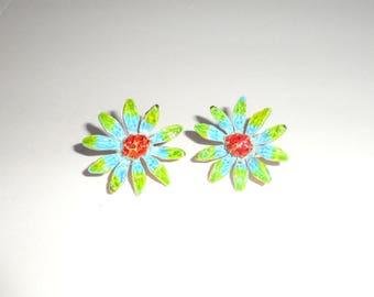 Vintage Clip On Enamel Flower Earrings marked ART