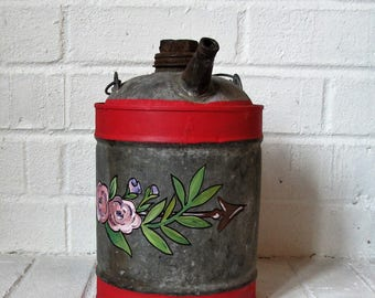 Antique Metal Can-Flowers and Arrow