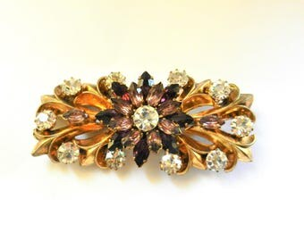Exquisite designer collar/bar brooch - pure glow of clear stones & violet flower placed on an elegant pattern of golden leaves-Art.838/4