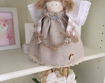 Angel Callie Doll Natural Linen And Gingham Fabrics