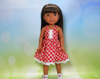Designed for 14.5 inch dolls such as Wellie Wishers, Red Checked Cherry Dress, 05-2096