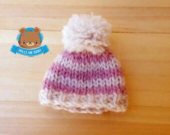 Striped pom pom hat for Lati White, Pukipuki, Petite Blythe, Mini Dal, Mini Pullip, 3-5 inches heads