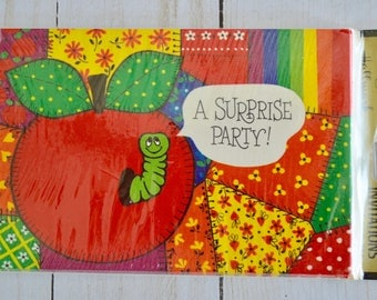 Vintage Hallmark Surprise Party Invitations Sealed Package of 8 Worm in Apple Design