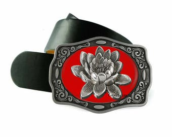 Lotus Flower Belt Buckle Inlaid in Hand Painted Red Enamel Zen Inspired Design Belt Buckle for Snap Belts with Custom Colors Available