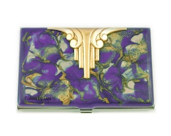 Art Deco Business Card Case Inlaid in Hand Painted Glossy Enamel Quartz Inspired with Color and Personalized Options