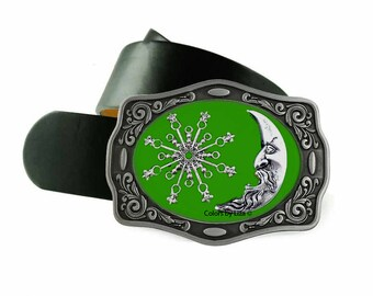 Celestial Belt Buckle Inlaid in Hand Painted Green Enamel Cosmic Inspired Design Belt Buckle for Snap Belts with Custom Colors Available