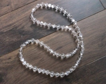 Vintage Necklace Clear Plastic Bead Retro Fashion Costume Jewelry Single Strand Longer