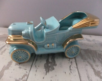 Vintage Planter Antique Car Turquoise Blue with Gold Convertible Ceramic Mid Century Kitsch Retro Home Decor