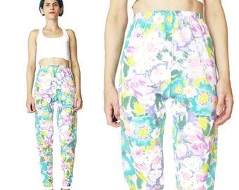30% Off FLASH SALE 90s Floral Leggings Vintage Floral High Waist Pants Stretchy Slim Pants Abstract Watercolor Pastel Pants Yoga Workout Spr
