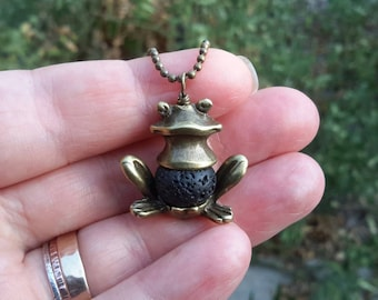 Frog Diffuser Necklace   Big Bronze Frog Pendant with Lava Bead on Brass Ball Chain or Leather   Diffusing Frog Charm