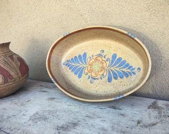 Vintage El Palomar Stoneware Pottery Oval Dish Platter Bowl Mexican Pottery