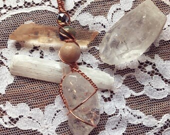 Tumbled Clear Quartz Wire Wrapped Pendant Necklace