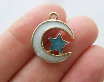 4 Moon star blue white charms gold tone GC79