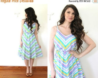 ON SALE 70s Chevron Striped Fit and Flare Dress / 1970s Colorful Stripes Sundress Sun Dress