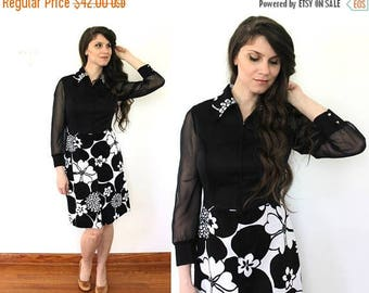 ON SALE 70s Sheer Sleeves Dress / 1970s 1960s Mod Floral Black and White Dress