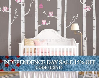 Independence Day Sale - Birch Tree With Owls Wall Sticker Set, Birch Tree Decal, Baby Nursery Wall Stickers, Nursery Wall Decals, Tree and